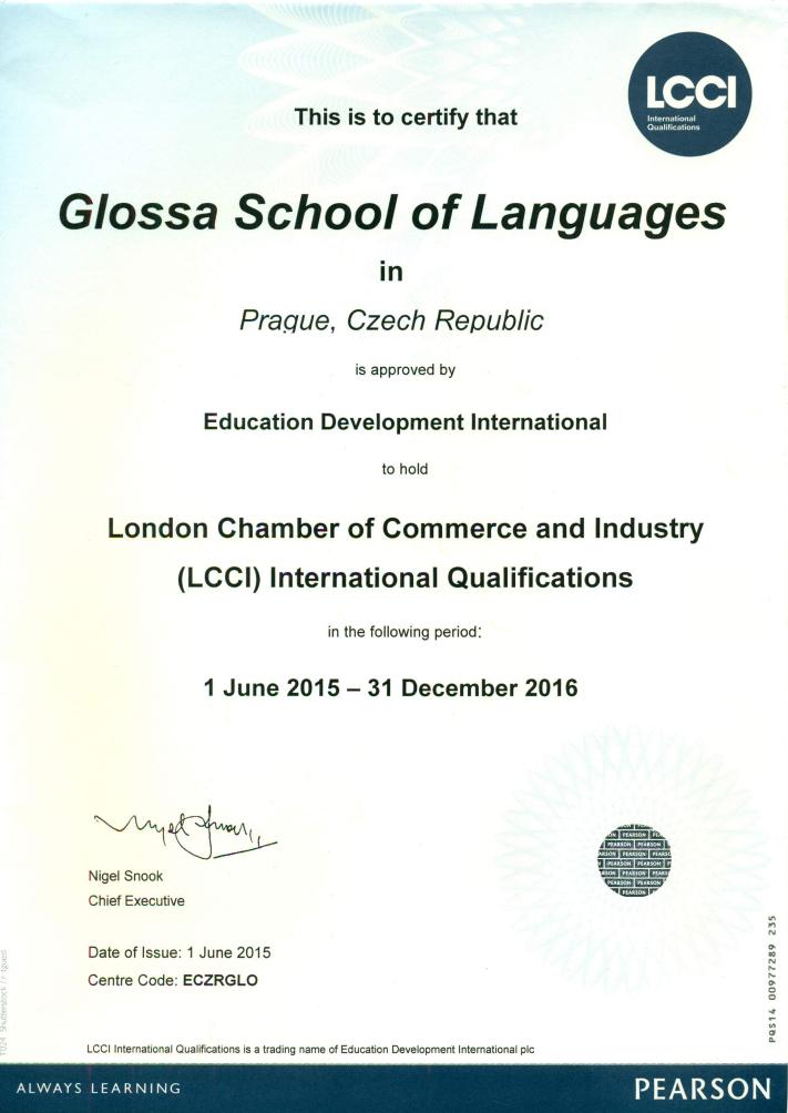 LCCI-Glossa-akreditace